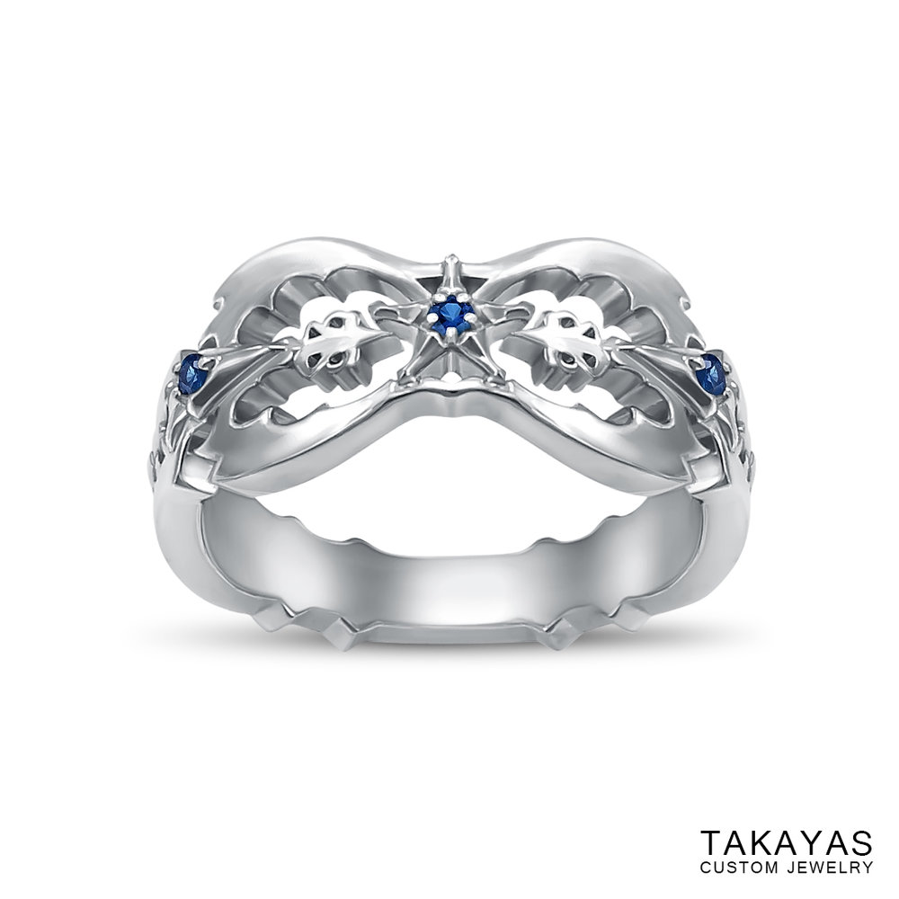 Kingdom Hearts Oblivion Wedding Ring by Takayas angled top down view