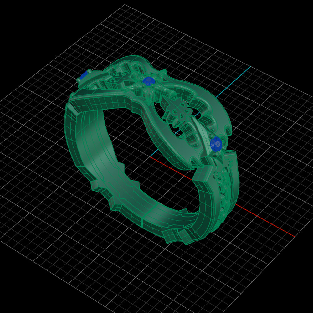 Kingdom Hearts Oblivion Wedding Ring by Takayas wire frame CAD rendering angled side view