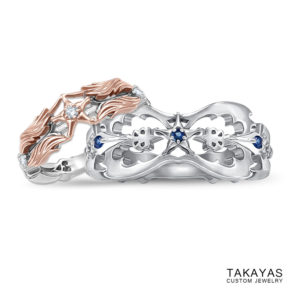 Kingdom Hearts Oathkeeper and Oblivion Wedding Rings by Takayas