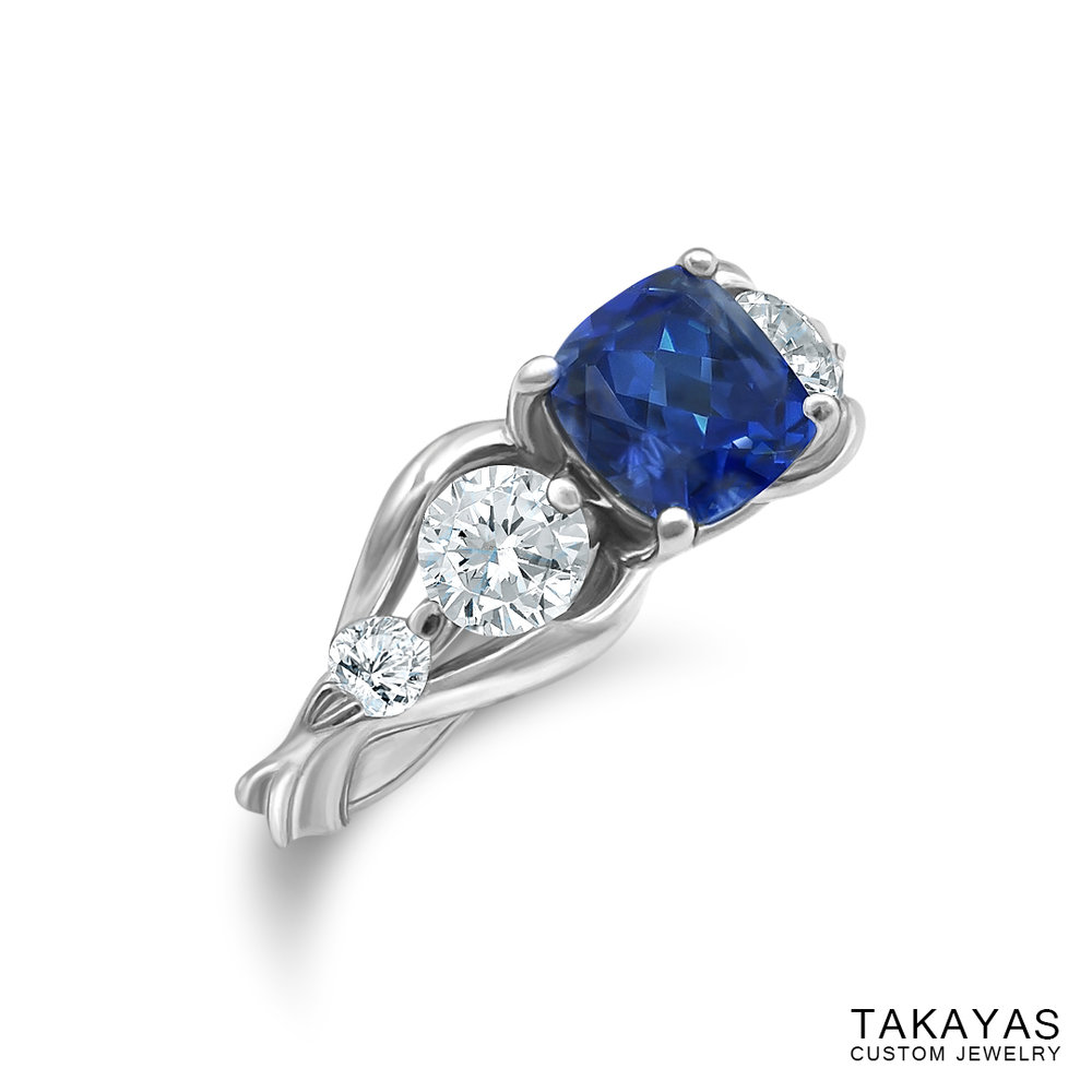 Photograph of FFXIV Carbuncle Engagement Ring by Takayas - angled side view