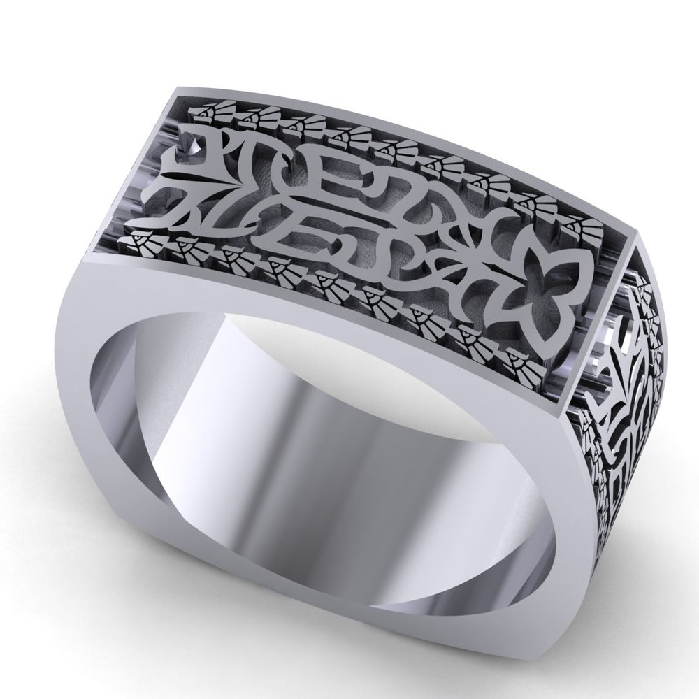 CAD rendering of Aztec Initials Men's Wedding Ring by Takayas - angled top view with nine eagles