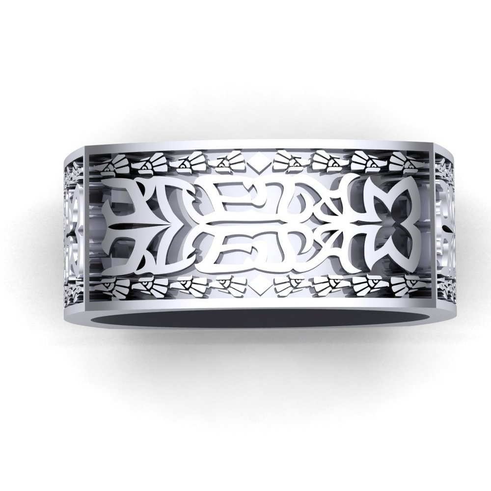 CAD rendering of Aztec Initials Men's Wedding Ring by Takayas - top down view with eight eagles and a diamond shape