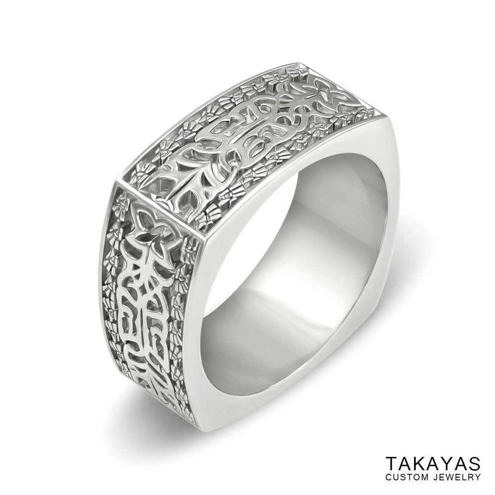 Finished custom Aztec Initials Men's Wedding Ring by Takayas - angled side view