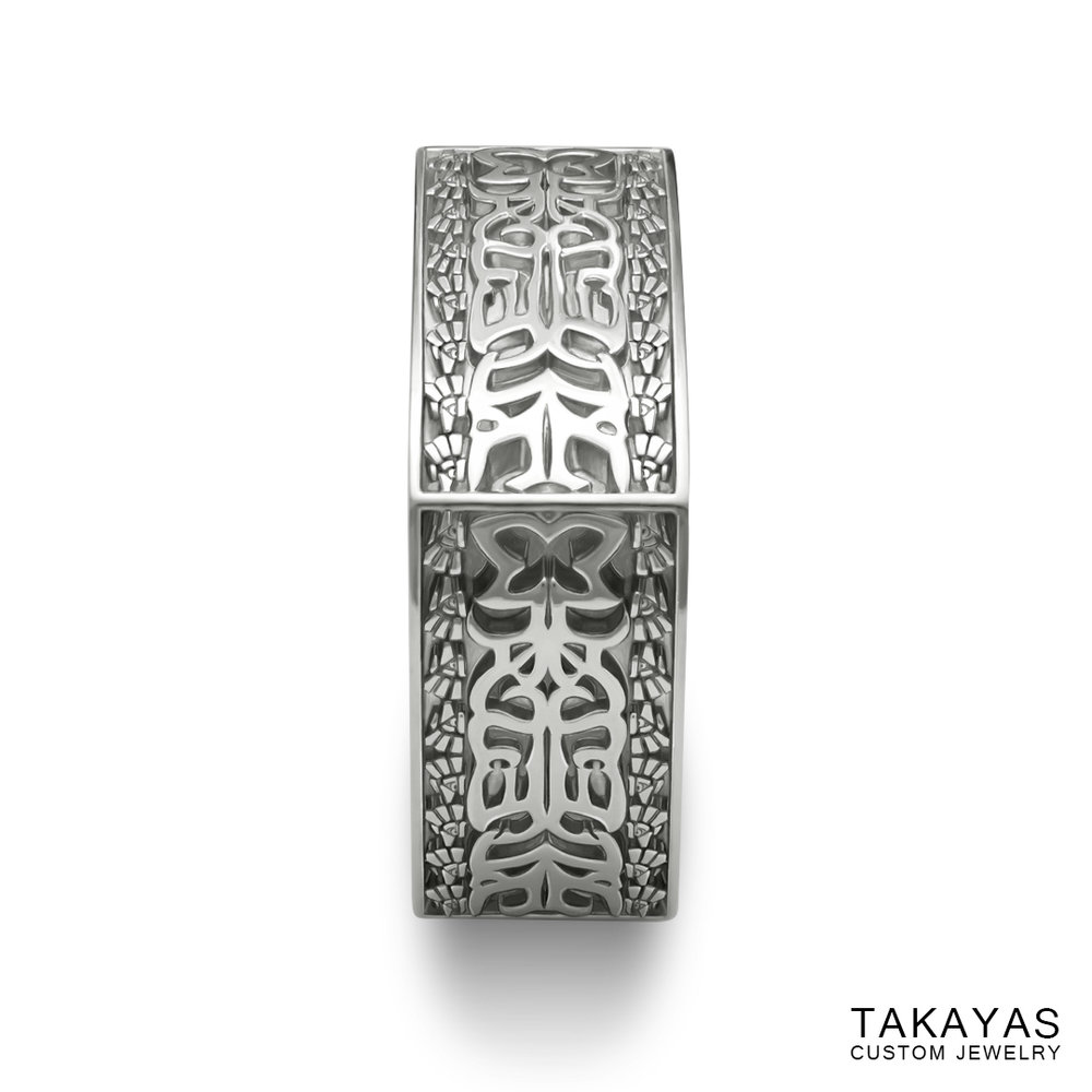 Finished custom Aztec Initials Men's Wedding Ring by Takayas - side view