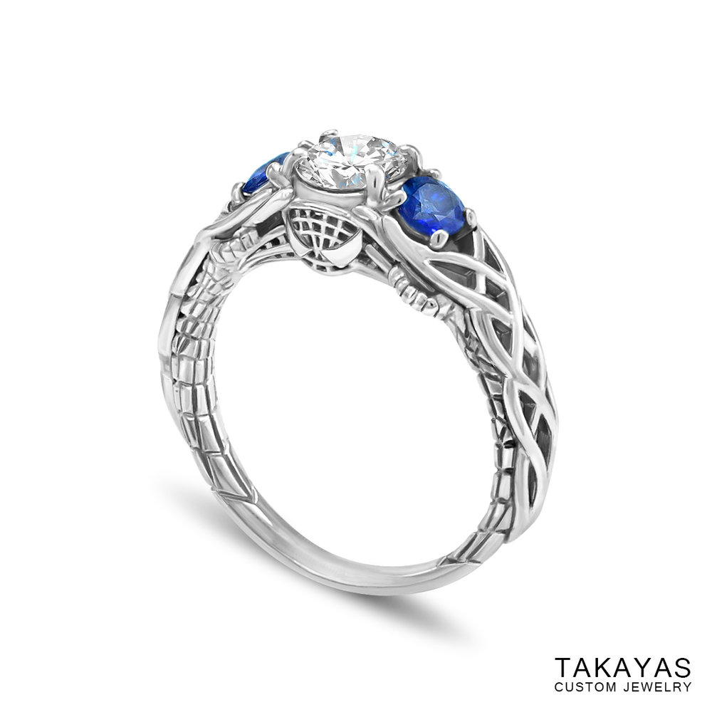 Celtic Spiderman engagement ring by Takayas - finished ring - angled side view