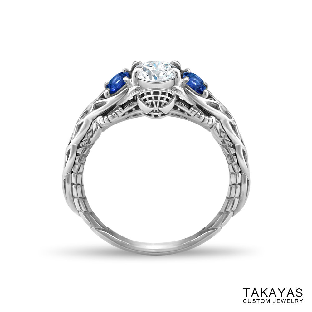 Celtic Spiderman engagement ring by Takayas - finished ring - front view