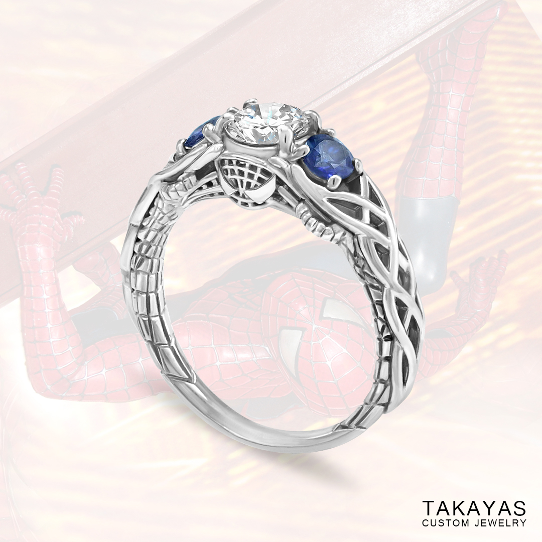 Celtic Spider Man Inspired Engagement Ring Takayas Custom Jewelry