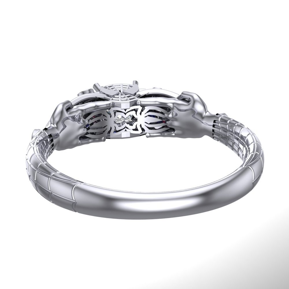 Spider-Man (Spiderman) engagement ring by Takayas CAD rendering under-gallery view