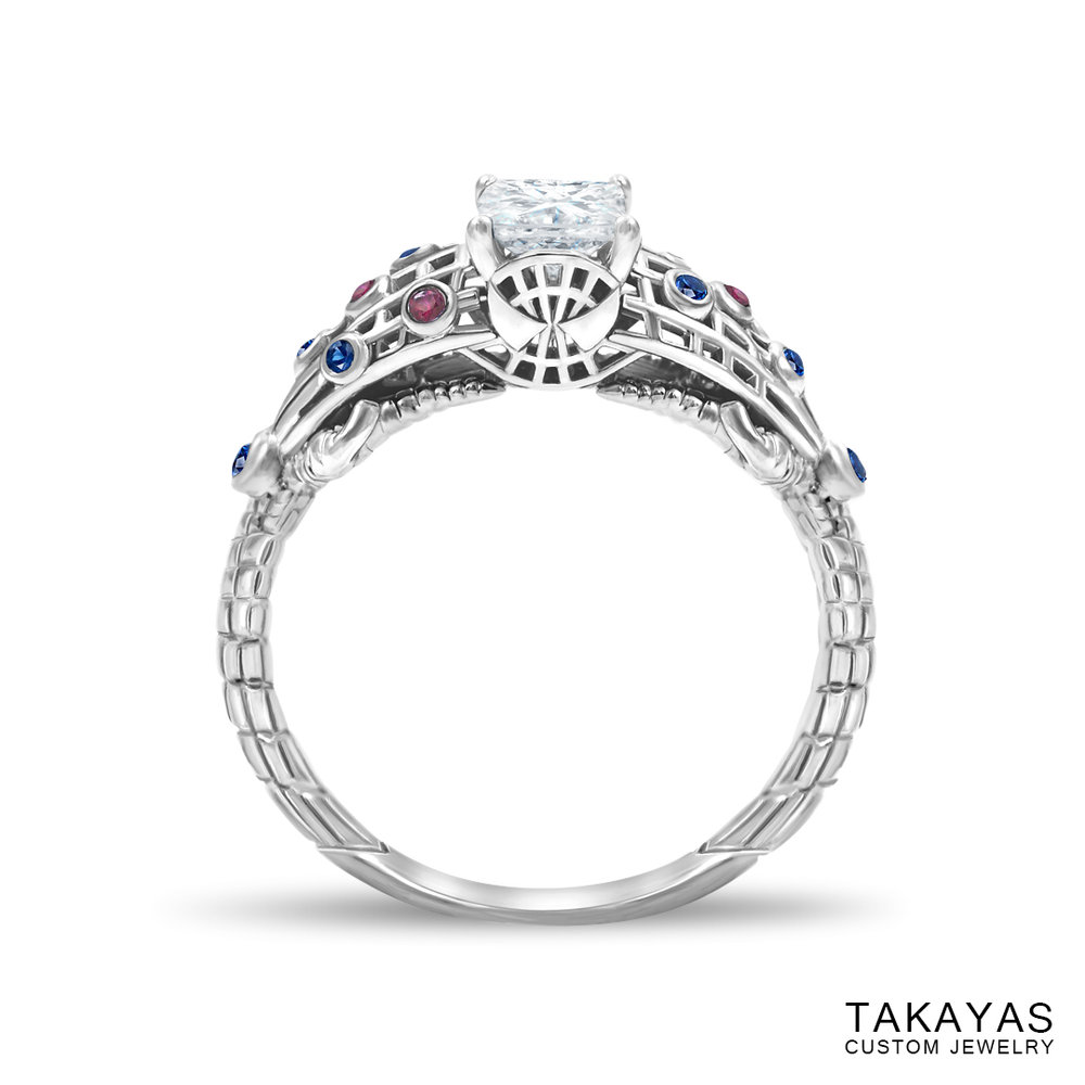 photograph of Spider-Man (Spiderman) engagement ring by Takayas - front view