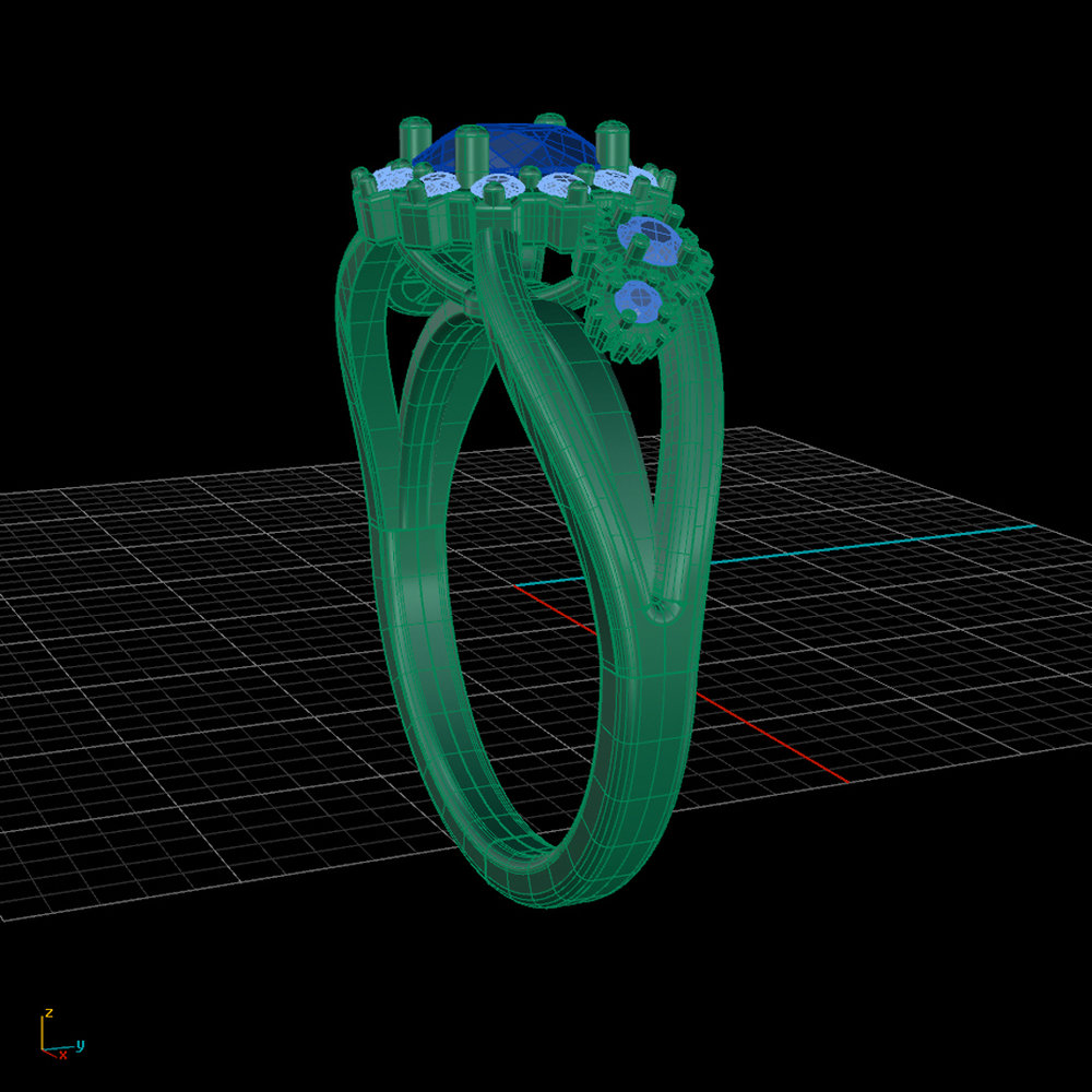 Wire frame CAD rendering of the Carousel of Progress engagement ring designed by Takayas Custom Jewelry