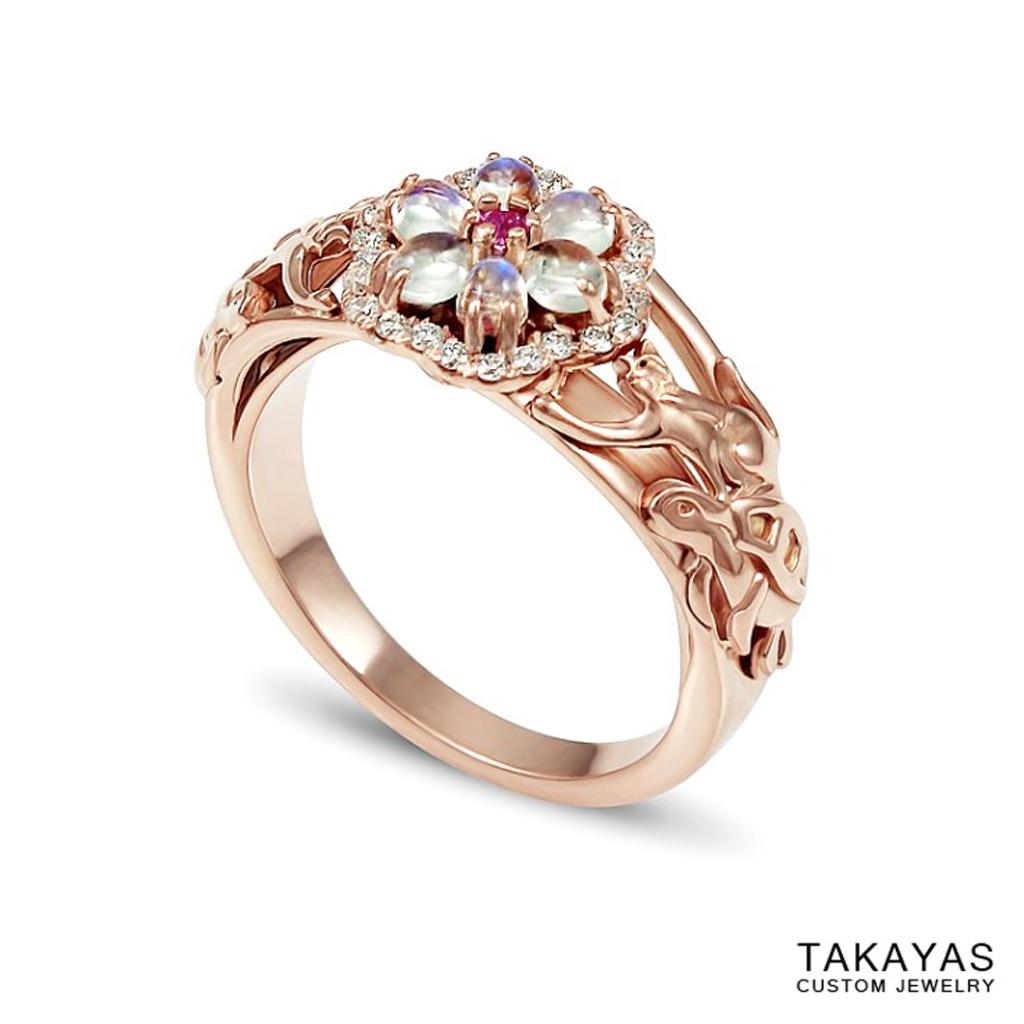 Cat Turtle Wedding Ring Set Takayas