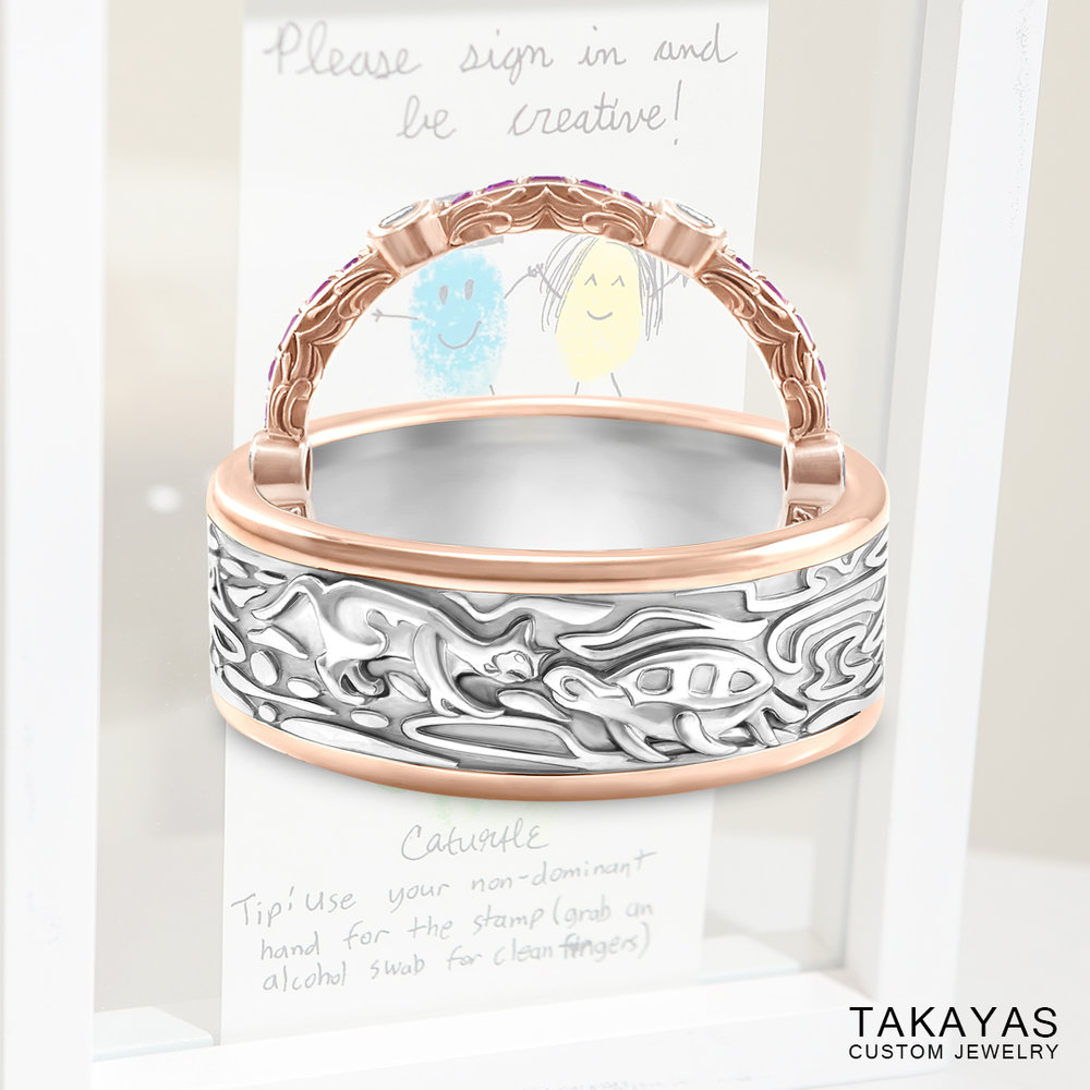 Cat Turtle Wedding Ring Set by Takayas Custom Jewelry