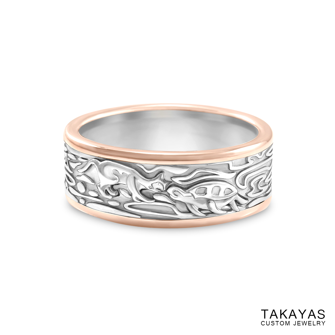 It is a graphic of Cat-Turtle Wedding Ring Set Takayas Custom Jewelry
