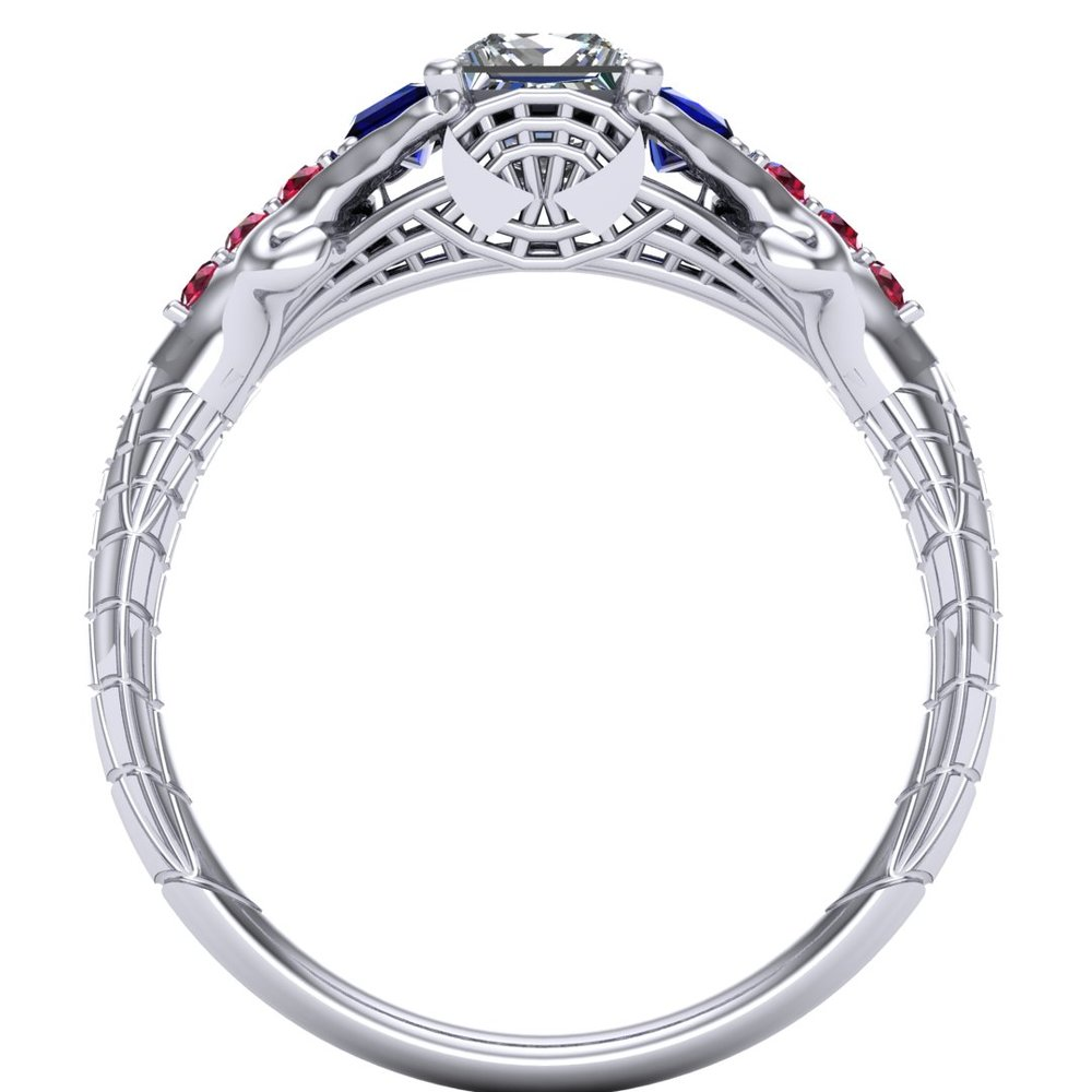 Gemmy Spider-Man engagement ring by Takayas CAD rendering - front view