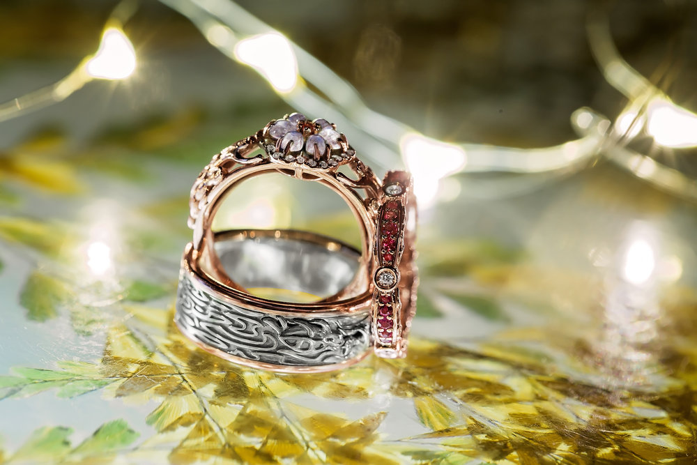 professional wedding photography image of cat-turtle wedding set by Takayas Custom Jewelry