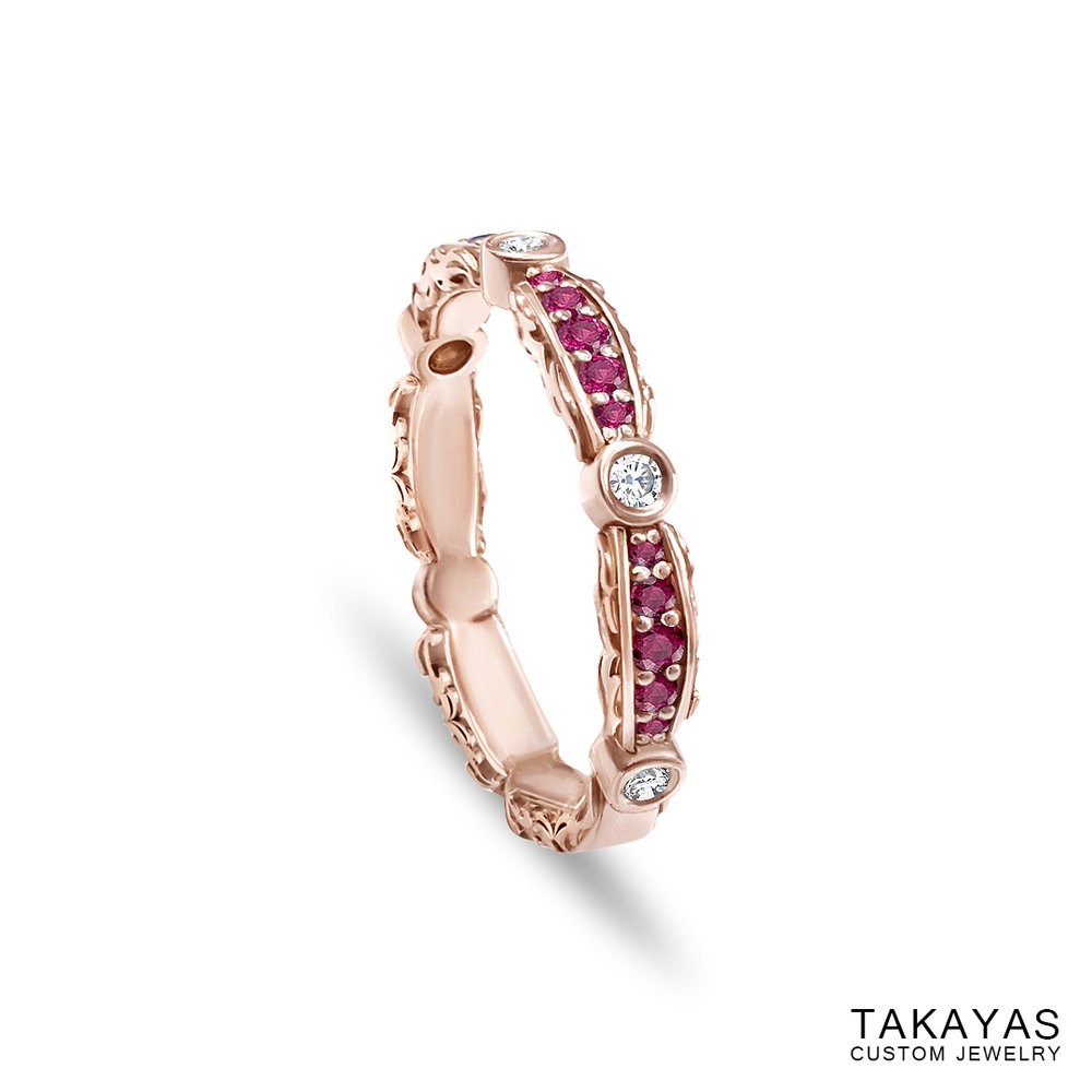 Photograph of ladies' custom baroque pattern inspired wedding band with pink sapphires and diamonds, by Takayas Custom Jewelry - angled side view