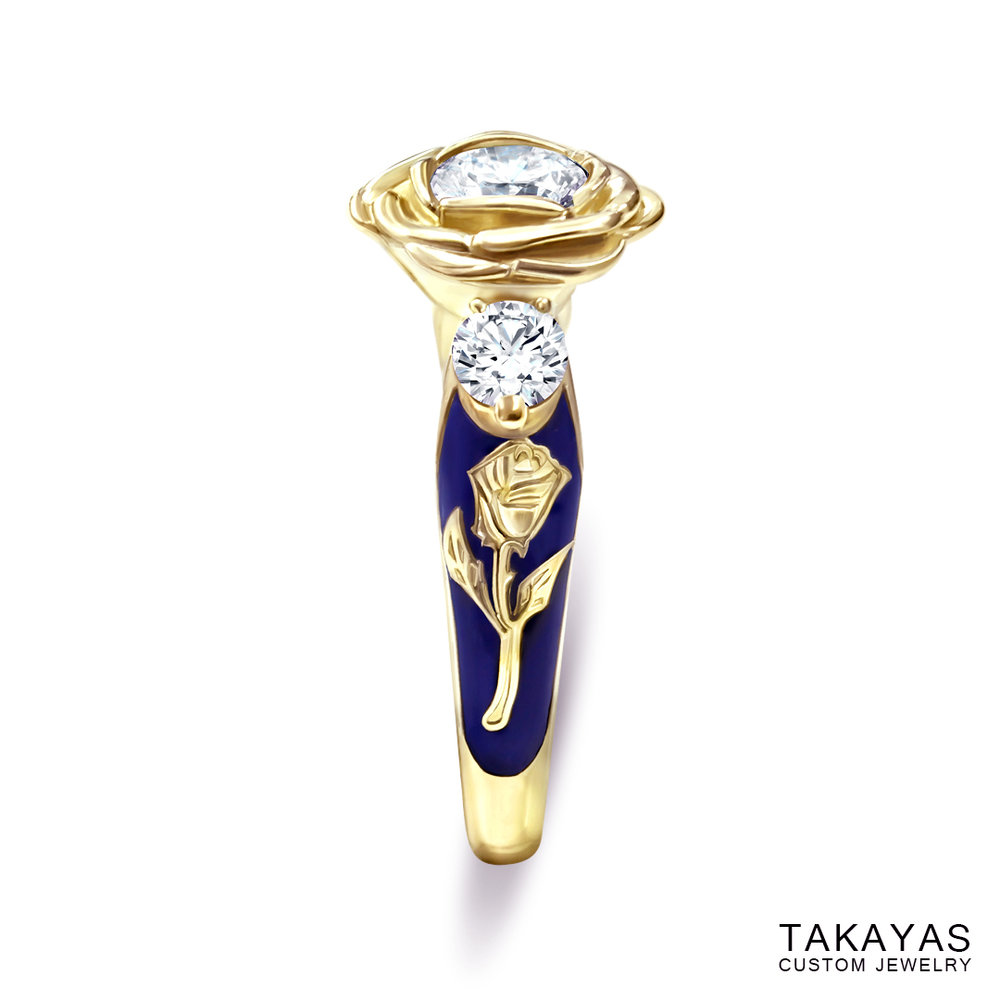 Beauty-Beast-engagement-ring-by-Takayas-side-view