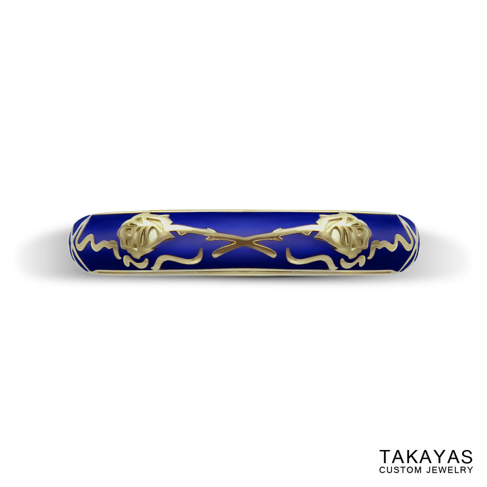 photograph of finished Beauty and the Beast wedding ring by Takayas Custom Jewelry - top view