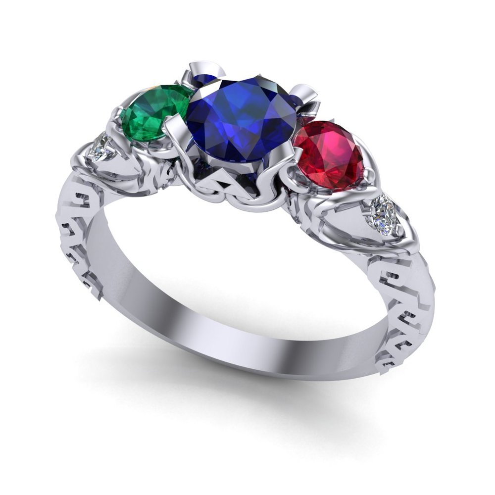 CAD rendering of Zelda Wind Waker inspired engagement ring - perspective view