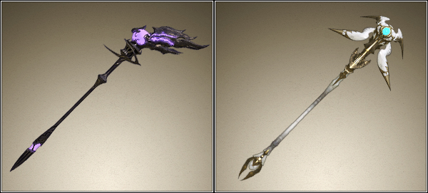 FFXIV Black & White Mage staffs, used as inspiration for custom Final Fantasy wedding rings by Takayas