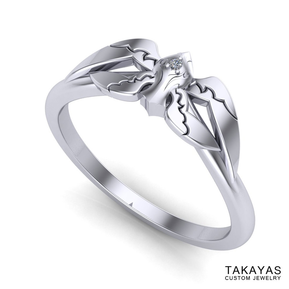 CAD rendering of White Mage Final Fantasy wedding ring designed by Takayas - perspective view