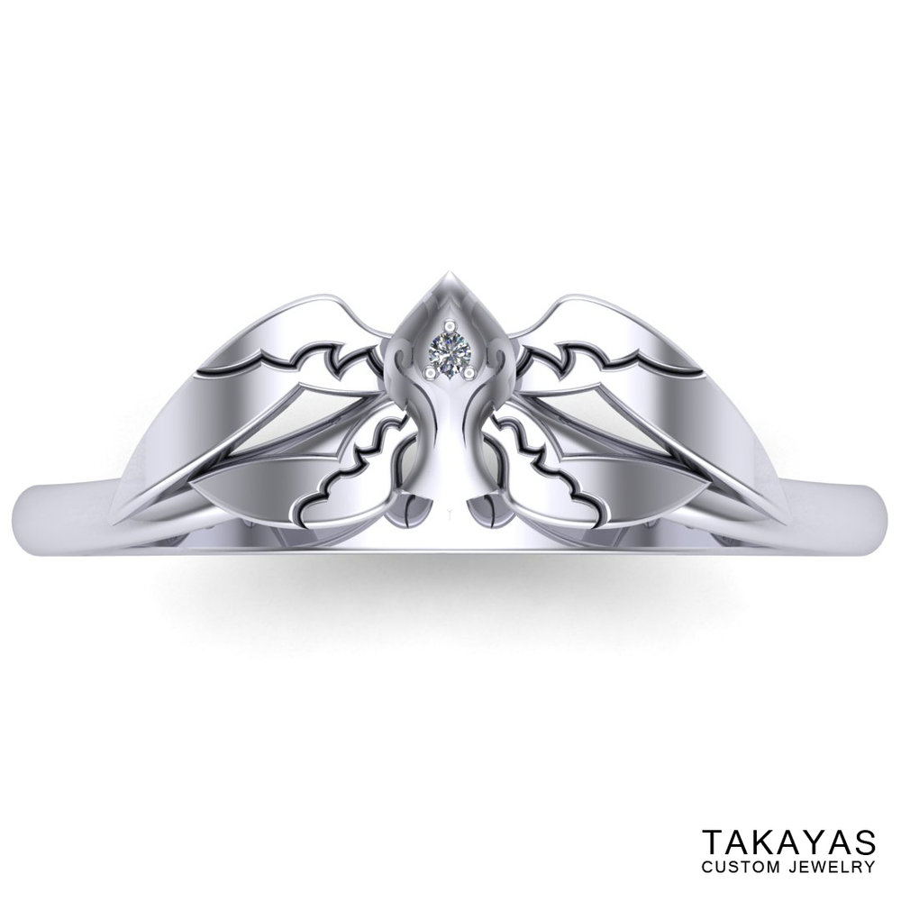 CAD rendering of White Mage Final Fantasy wedding ring designed by Takayas - top view