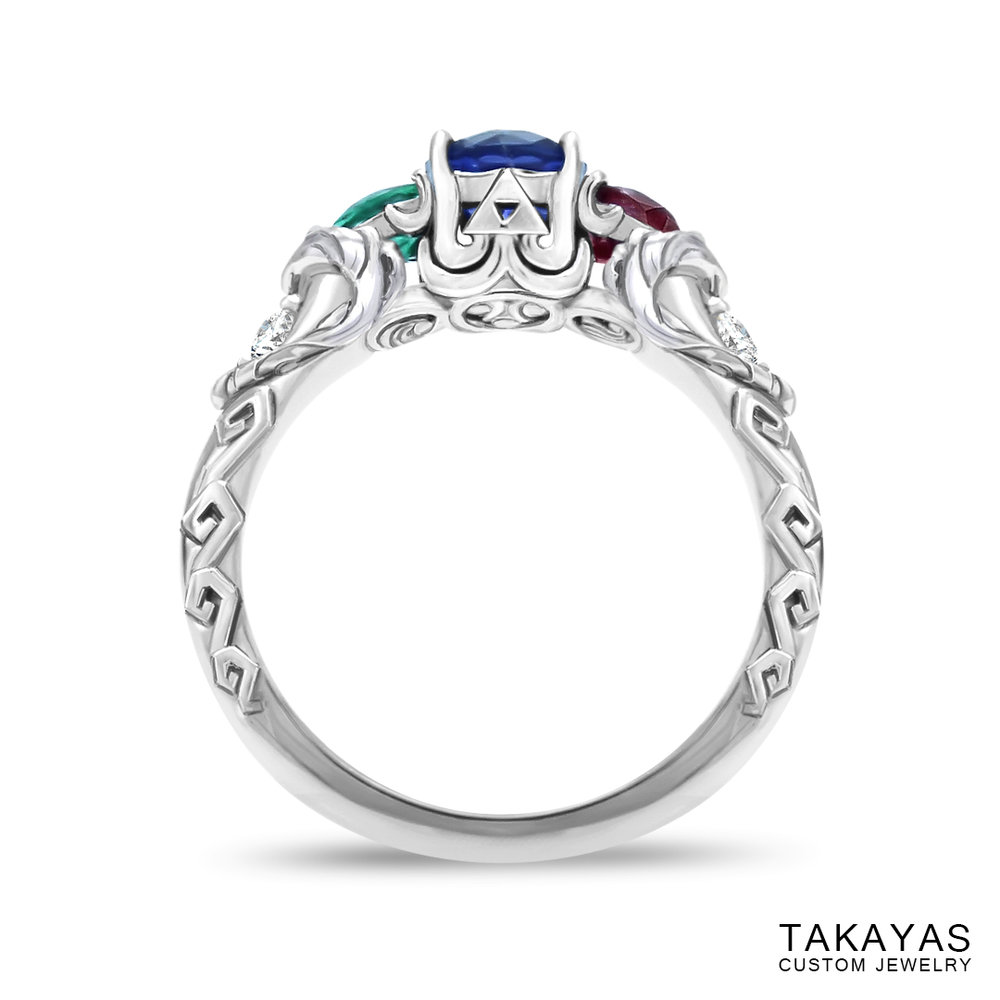 photograph of Zelda Wind Waker inspired engagement ring - front view