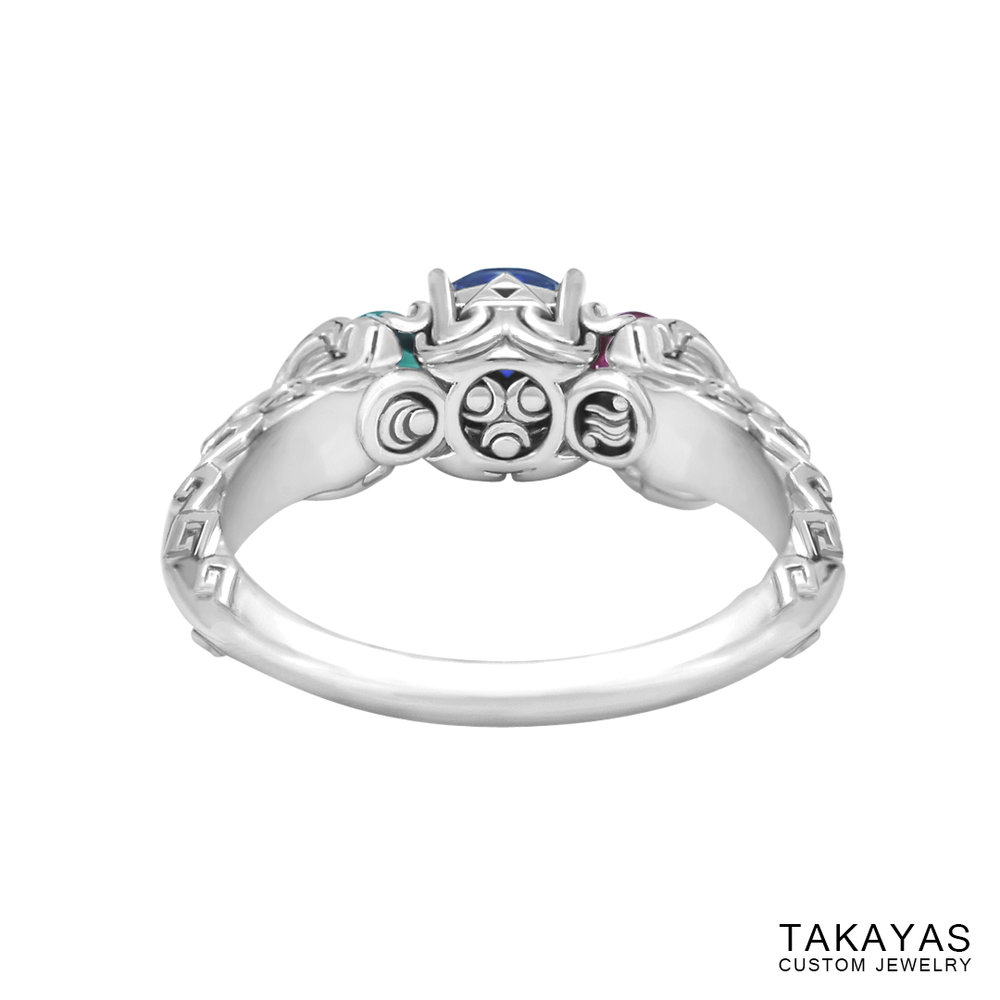photograph of Zelda Wind Waker inspired engagement ring - inside view
