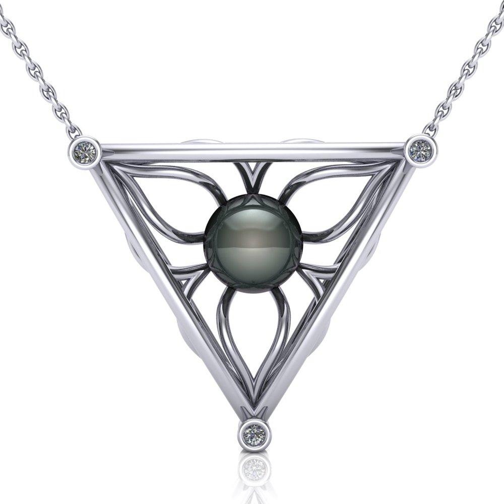 Custom necklace using customer's 9.3mm Tahitian Pearl, made in 14K white gold with 0.15 ctw accent diamonds