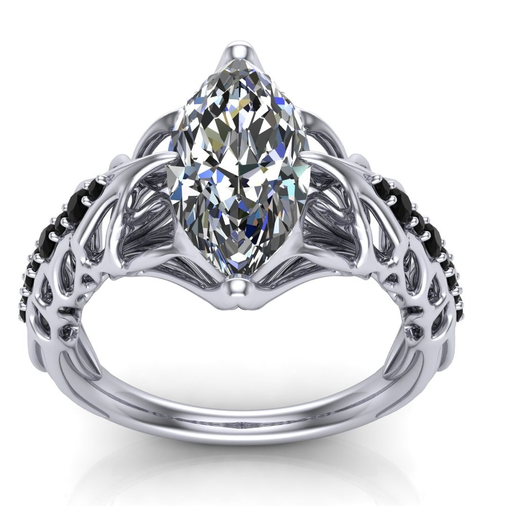 Gallery Image 05:<br />Custom HR Giger Swans inspired engagement ring in platinum with a 2.00 ct marquise diamond center stone and 0.20 ctw black accent diamonds