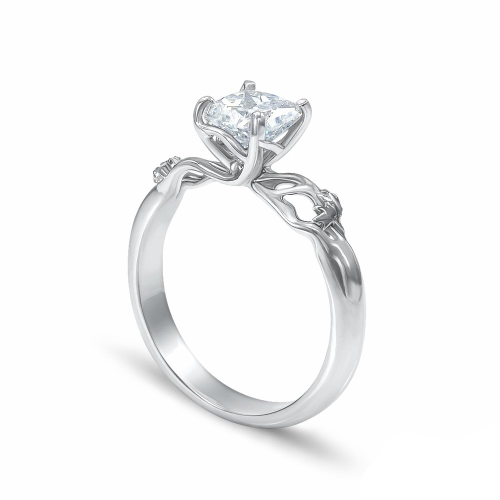 Elven Leaf Engagement Ring in 14K white gold and a 0.92 ct. radiant cut diamond center stone