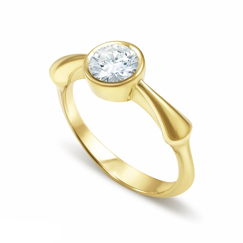 Sao Jorge inspired engagement ring in 14K yellow gold and a 0.56 ct. round cut diamond