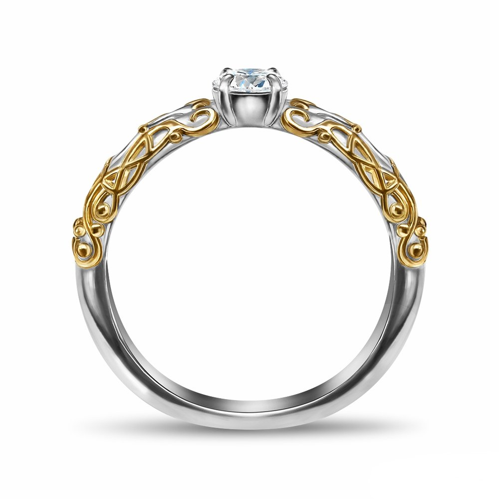 Final Fantasy XI White Mage two tone 14K white and yellow gold inspired engagement ring in 14K white gold, with a 0.25 ct. round diamond center stone