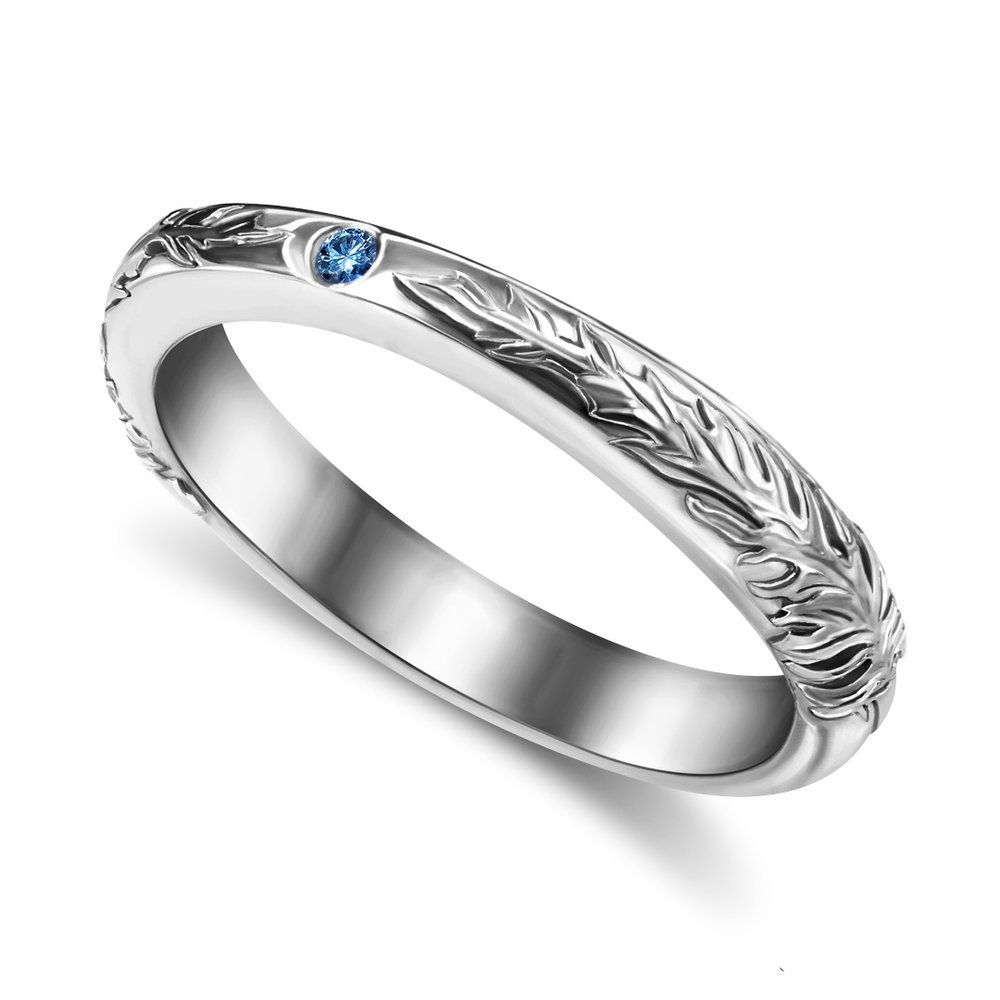 Final Fantasy XV Freya and Sylleblossom inspired wedding ring in 14K white gold and a blue accent diamond center stone
