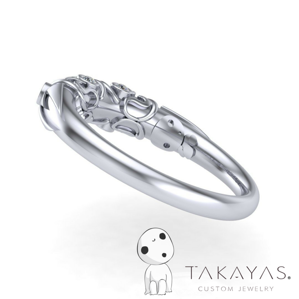 Princess Mononoke Inspired Wedding Ring designed by Takayas of Takayas Custom Jewelry