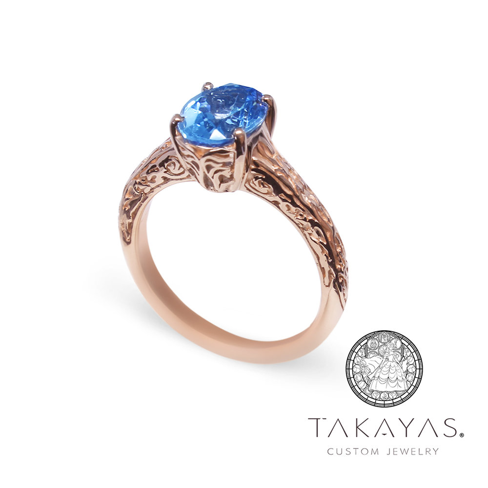 Custom Beauty and the Beast Engagement Ring by Takayas Custom Jewelry