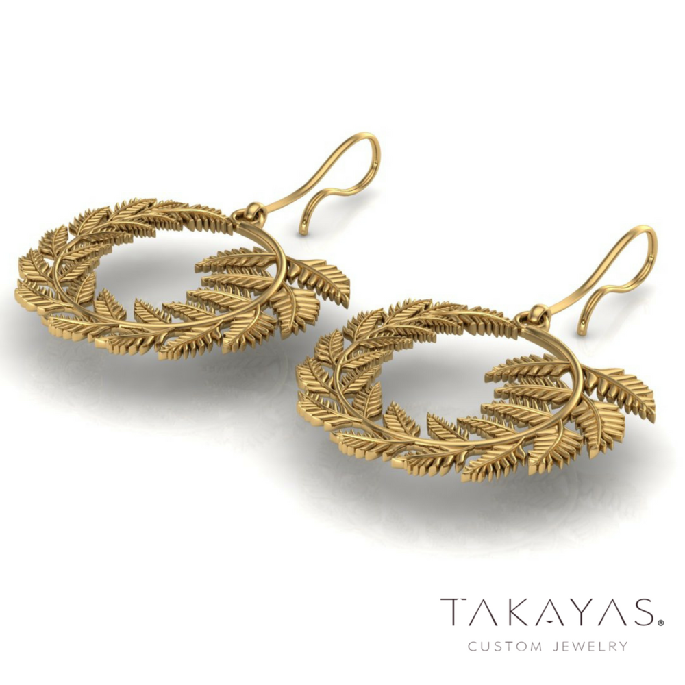 Palm Leaf Inspired Earrings by Takayas Mizuno