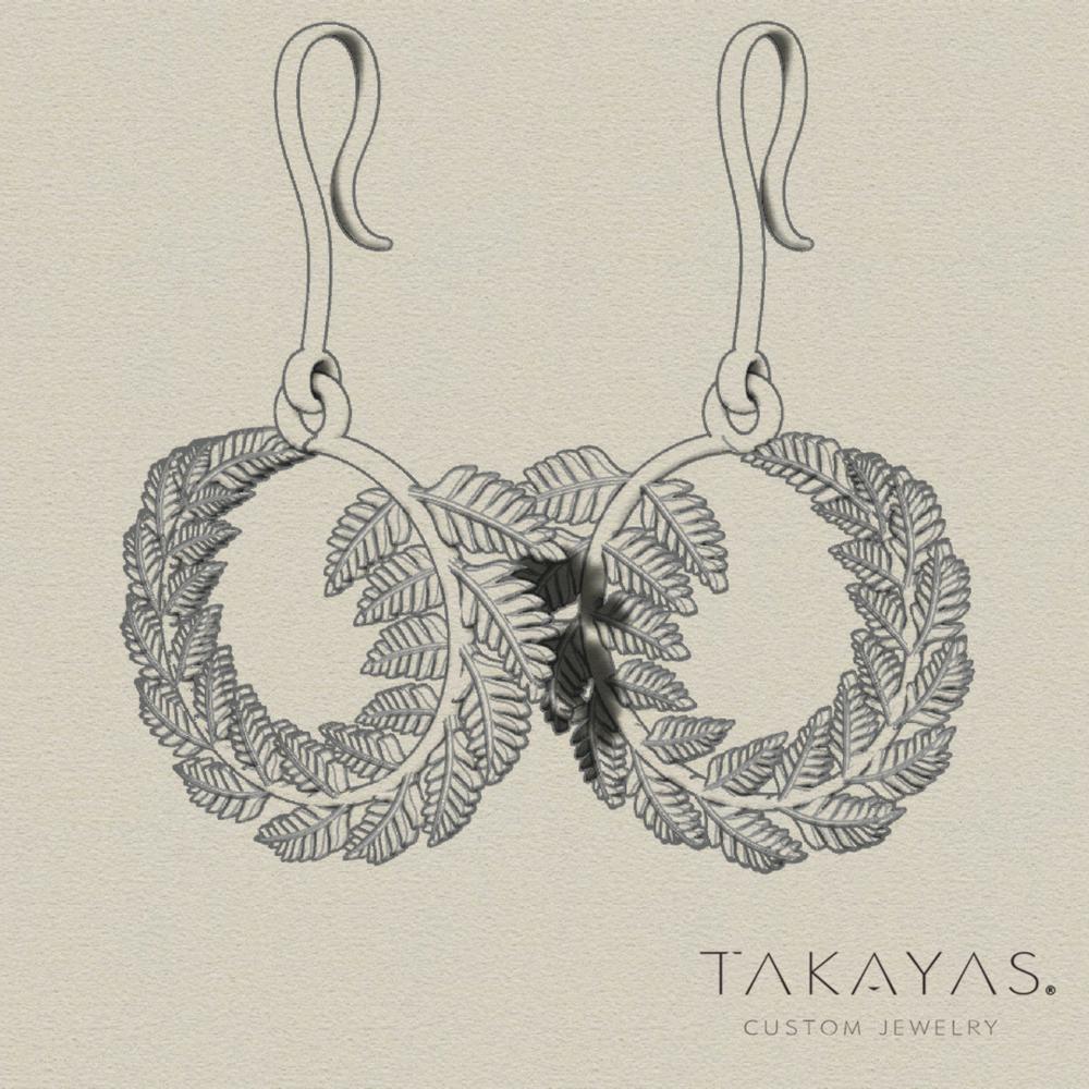 Custom Palm Leaf Earrings by Takayas Custom Jewelry