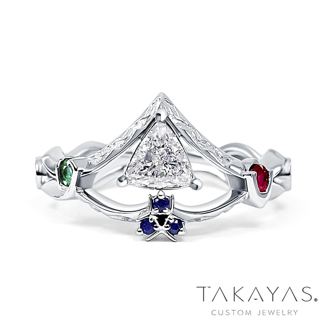 Legend of Zelda Sacred Symbols Inspired Engagement Ring