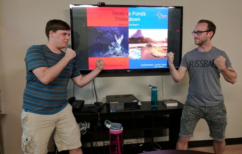 Origins Institute Summer Research Afternoon.  Andrew Tupper (left) and Ben K. D. Pearce (right) debating hydrothermal vents vs. warm little ponds as a site for the emergence of life. June 14th, 2017.