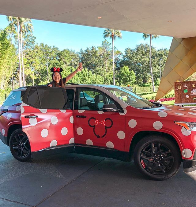 To the Happiest Place on Earth, please! Traveling in style in the Minnie-Van! How else would we get there? 🎉❤️ #minnievan #waltdisneyworld #disneytransportation #magickingdom #epcot #disneyminnievan