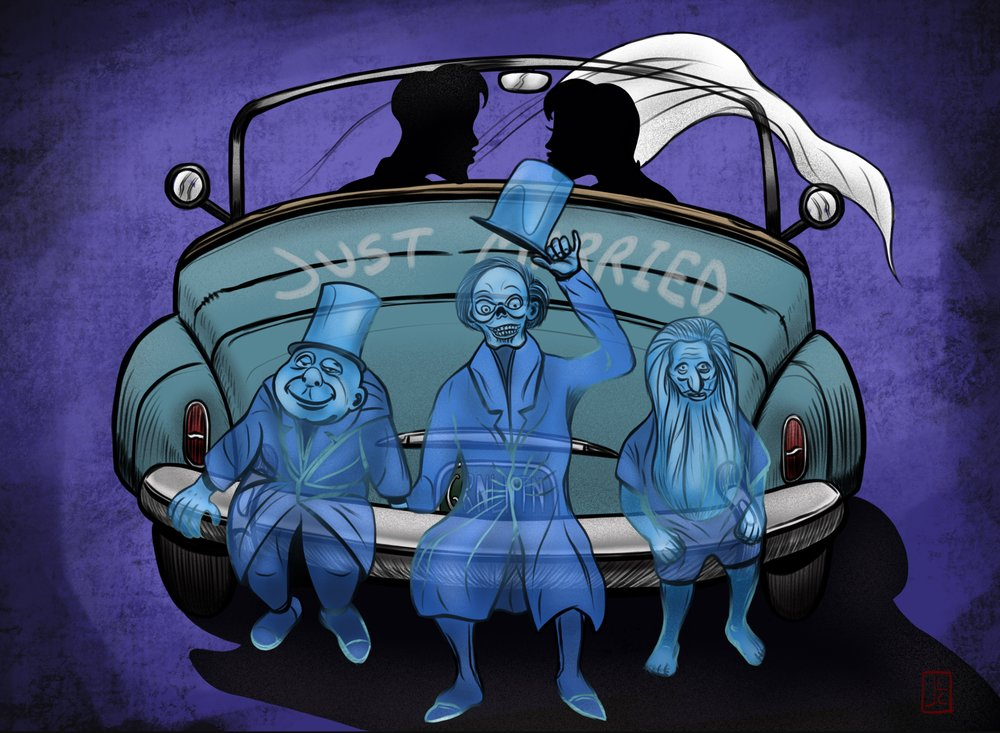"""This was a drawing I posted not too long ago that I created to commemorate getting married and our Disney honeymoon.  Jacque  was the one who came up with the brilliant idea of the  Hitchhiking Ghosts  tagging along. If you look you can see I made the license plate read, """" GRNLNTN """", in honor of Jacque's grandfather,  Mart Nodell ."""