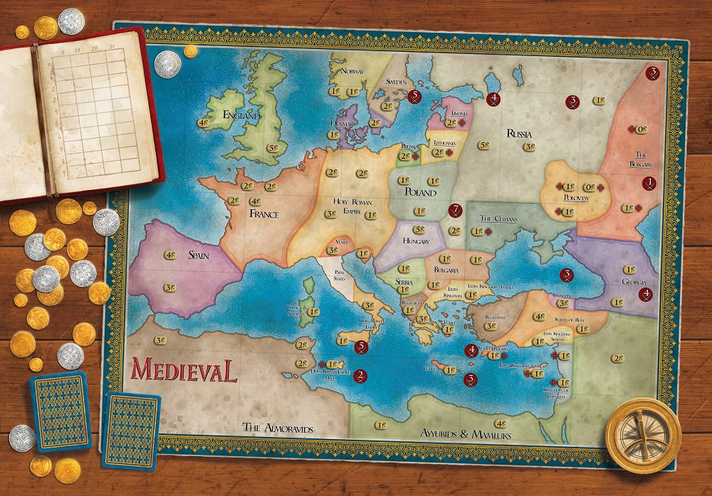 "A look at the  Medieval  game map, on a full 18"" x 26"" (approx.) hard-mounted board ..."