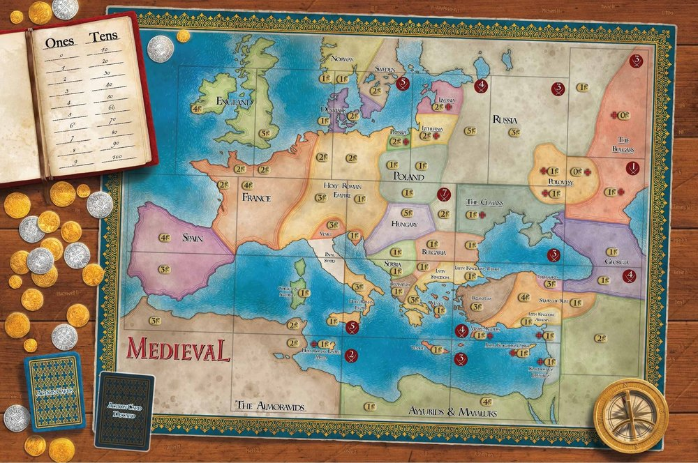 Get Medieval on Game Night - Wage war, unleash the plague, excommunicate the unworthy, and drive back the Mongol hordes. Medieval is a strategy board game designed for 2-6 players and plays in less than two hours.