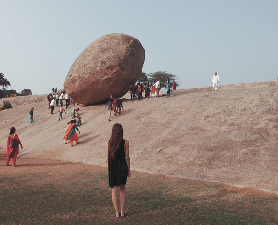 A big rock and Natasha in Mahabalipuram, Tamil Nadu, India.