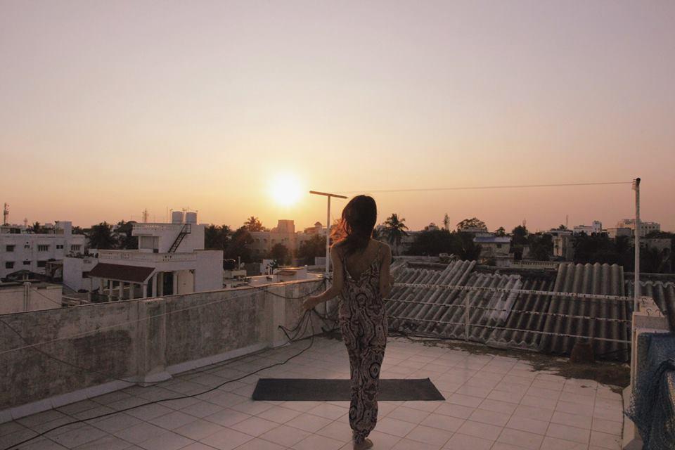 Natasha on a roof in Pondicherry, India