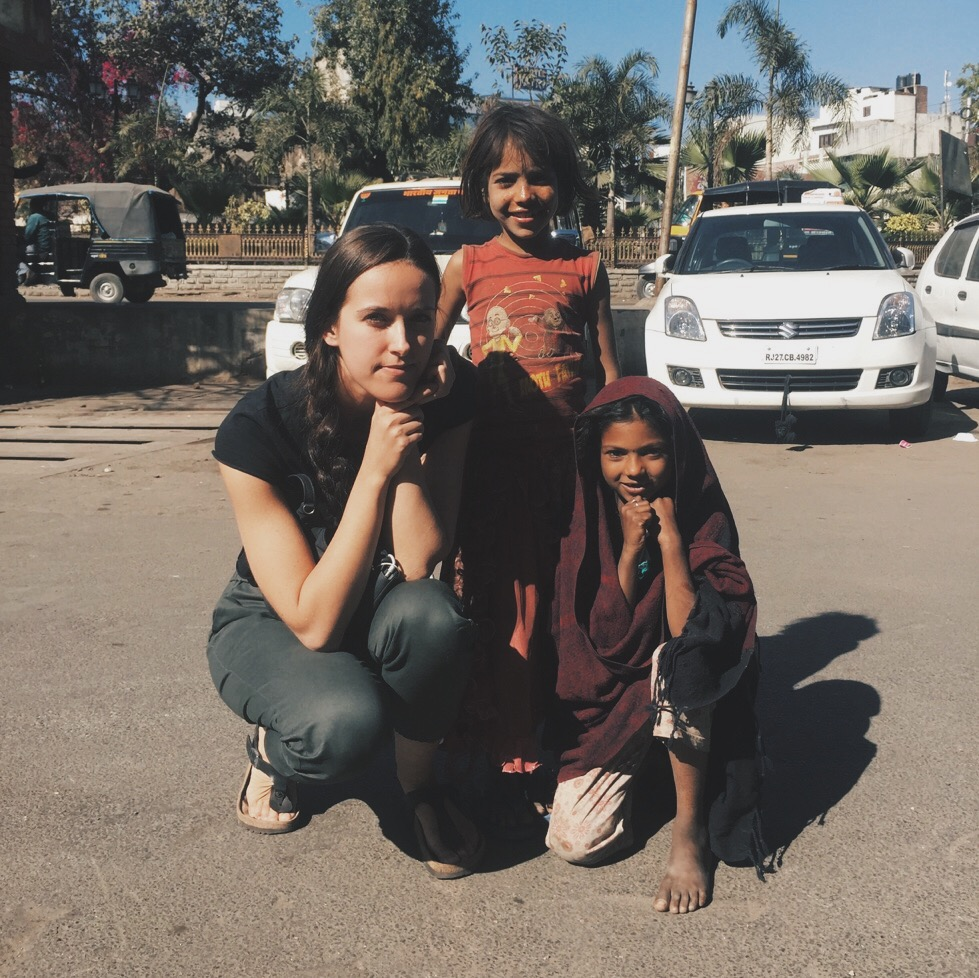 Spending some time with two street girls in Udaipur, India