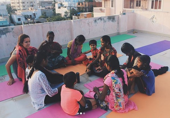 Circle time with the girls of Maasila home.