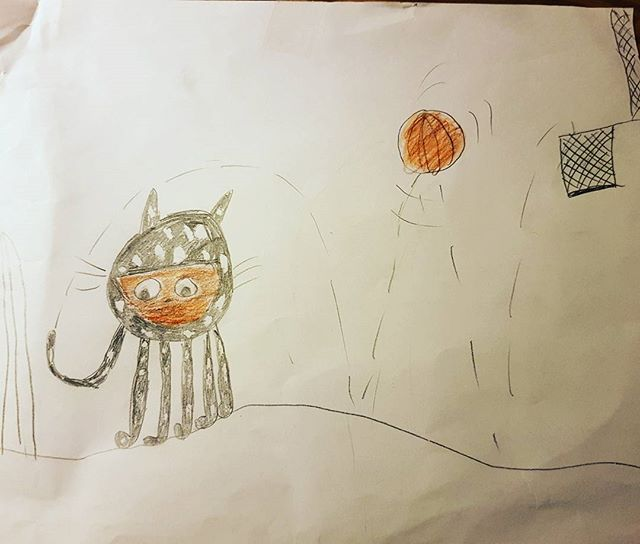 Casual cat-octopus (catopus?) playing basket.  #consideringthisasatattoo  #thankyouHannah #cat #octopus #fineart #kidsdrawing