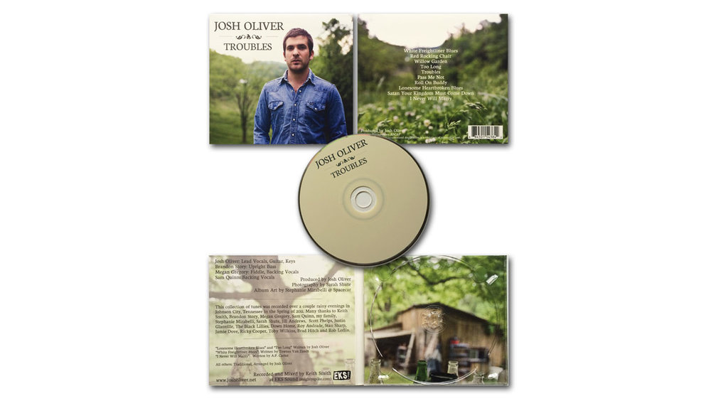 Josh Oliver Troubles CD Package | Layout and Concept. Photography by Sarah Shute.